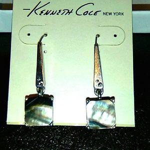 Kenneth Cole Silver Drop Earrings w/Black Shell